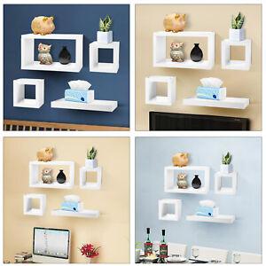 Set of 4 Floating Wall Cube Shelves White Hanging Storage Display Shelving UK
