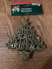 Peace Glitter Tree Christmas Ornament