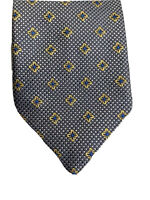 S.T. Dupont 100% Silk Tie grey and silver check,  floral pattern in gold & blue