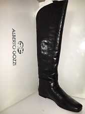 $570 Alberto Gozzi Knee High Boots Leather Croc Brown Chocolat Burgundy 8.5 NEW