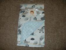 Blankets & Beyond Safari Baby Blanket White Blue Minky Dot Infant Boys NWT VHTF
