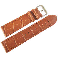 20mm Mens Fluco Made in Germany Tan Crocodile-Grain Leather Watch Band Strap