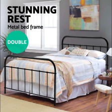 DOUBLE Strong Metal Bed Frame Size Round Tube Base Powder coated steel Black