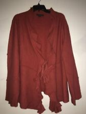 Elena Solano Burnt Orange Ruffle 100% Wool Cardigan Sweater Size 2X Bell Women