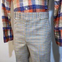 Vtg 60s 70s Plaid Pants Polyester Disco Leisure Suit Midcentury retro Mens 34 31