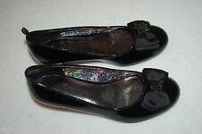 Girls Dress Shoes BLACK SHINY HIGH HEELS Ribbon Bows BLACK RHINESTONES Size 4
