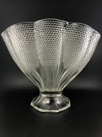 EAGP Clear Glass Fan Vase Dewdrop Hobnail Thousand Eyes by LE Smith