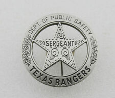 TEXAS RANGERS PUBLICE SAFETY SERGEANT BADGE PIN- REPLICA