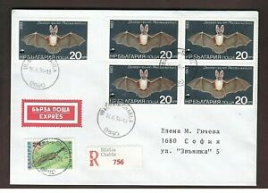 Mammals. Bats. Long-eared bat. Registered cover. Bulgaria 1994