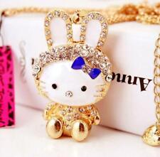 Fashion Betsey Johnson Pendant Rhinestone enamel Bow rabbit chain necklace