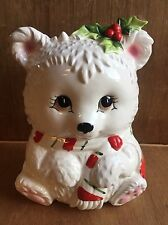VINTAGE RARE WHITE CHRISTMAS WINTER BEAR w scarf & holly COOKIE JAR BY LEFTON