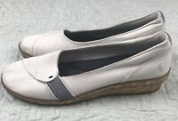 Grasshoppers Ortholite White Canvas Wedge Loafers 8 1/2 M EUC