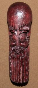 VINTAGE SMALL HAND CARVING WOOD FACE MASK PENDANT