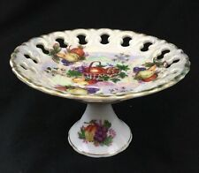 """Small Footed Candy Dish Nut Dish Fruit & Cutout Design Gold Trim 3.25""""X 4.75"""""""