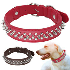 """Leather Spiked Studded Rivet Dog Collar Soft Padded Large Dogs Collar 1.5"""" Width"""