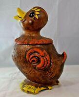 *Vintage* California Pottery - Brown/Orange Duck / Duckling Cookie Jar