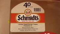 OLD 1970s USA BEER LABEL, SCHMIDT BREWING PHILADELPHIA PA, 40 Oz