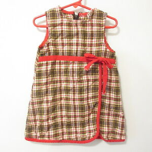 Vintage Sears Girls Woven Acrylic Jumper Dress Plaid Brown Red Yellow Size 4