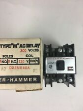 "BRAND NEW CUTLER HAMMER TYPE ""M"" AC RELAY 300V/4POLES  D23MR40A NEVER USED"