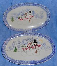 "2 SHANNON & DAUGHTERS HAND PAINTED 3 SNOWMEN OVAL 12 3/4"" PLATTERS USA MINTY"