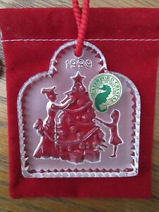 Waterford Crystal Joys Winter 1998 1st Edt TRIMMING THE TREE Christmas Ornament