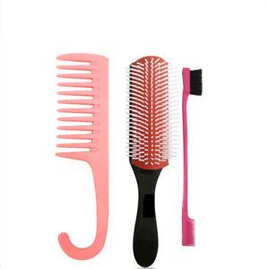 9 Row Nylon Cushion Brush with Edge Control and Long Detangler Comb Curly Hair