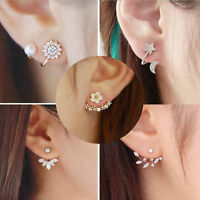 New Fashion Women Lady Elegant 1Pair Crystal Rhinestone Ear Stud Earrings