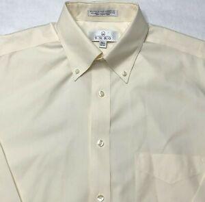 Enro Oxford Dress Shirt Men Size L Button Down 15 1/2 Long Sleeve Beige