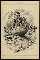 John Kelly Tammany Hall Political Cartoon Stormy Seas 1884 wood engraved print