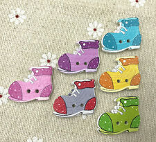 25pcs Wooden Boots shape Buttons Mixed Color Sewing Scrapbooking decoration 25mm