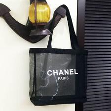 Chanel Black Mesh Tote Bag VIP Gift Shopping Travel Shopper Beach Shoulder Bag
