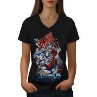 Wellcoda Urban Skater Womens V-Neck T-shirt, Skateboard Graphic Design Tee