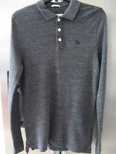 Abercrombie & Fitch manica lunga Polo Maglietta a Small Grigio in buonissima condizione A&F DA UOMO