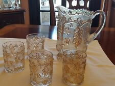Beaumont glass pitcher gold accents 4 tumblers.