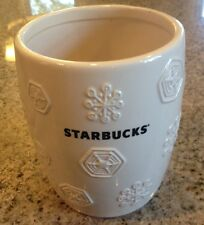 STARBUCKS Coffee Canister Container2011 White Snowflake Holiday Winter Christmas