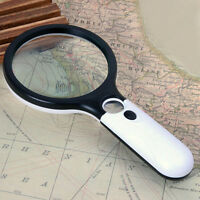 Handheld 45X Magnifying Reading Glass Lens Jewelry Loupe With 3 LED Light OHK