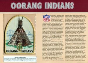 OORANG INDIANS ~ Willabee & Ward NFL GOLDEN AGE FOOTBALL PATCH CARD ~ Jim Thorpe