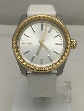 Diesel Women's Gold Tone Kray Kray Silver Dial White Leather Strap Watch DZ5410