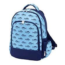 Boys Blue Shark Canvas Book Bag Backpack