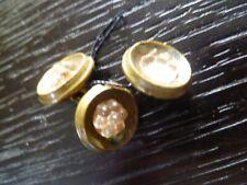 3 petits bouton ancien doré centre verre13 mm