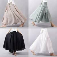 Women Linen Cotton Pleated Casual Maxi Long Loose Beach Boho Skirts Dress Summer