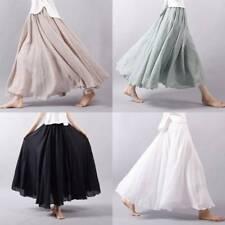 Women Linen Cotton Pleated  Casual Maxi Long Loose Beach Boho Skirts Dress