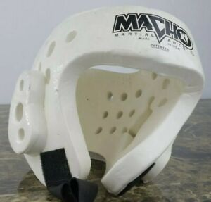 Macho Martial Arts White Sparring Protective Foam Head Gear w/strap Medium Youth