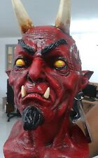 BRAND NEW Horned Satan DELUXE ADULT LATEX CLASSIC LUCIFER RED DEVIL MASK