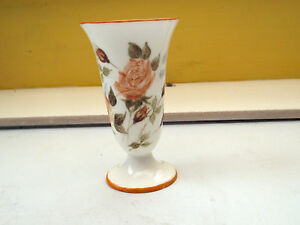 SMALL CHINA  POSY VASE  HAND PAINTED BY ?H DARBY YELLOW ROSE FLOWERS