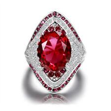 Turkish 925 Silver Oval Ruby Diamond Gemstone Wedding Engagement Ring Wholesale
