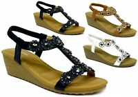 Ladies New Wedge Sandals - Strappy Summer Holiday Beach Women Sandal UK Size 3-8