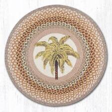 (1) Palm Tree Jute Braided Coastal Cottage Round Rug RP-023