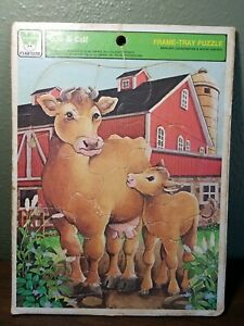 Rare 1977 Complete Whitman Vintage Cow & Calf Frame Tray Puzzle 4511H - USA