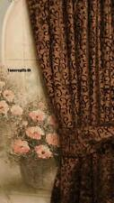 GOLD RED LILAC BROWN NATURAL LINED VELVET CURTAINS & BEADED TIE BACKS